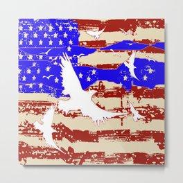 RED-WHITE-BLUE EAGLES & PATRIOTISM FLAG Metal Print