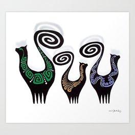SNOOTY CATS Art Print