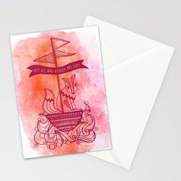 Fox Wandering At Sea, in sunset red Stationery Cards