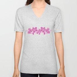 Kailua Hibiscus Hawaiian Sketchy Floral Design Unisex V-Neck