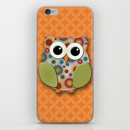 Colorful Floral Owl on Orange iPhone Skin