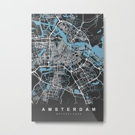 Amsterdam Netherlands Map | Black & Blue | More Colors, Review My Collections Metal Print
