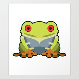 Cute Kawaii Green Tree Frog Art Print