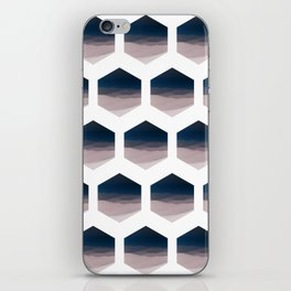 Hexagon Landscape - Dark Blue & Light Dusky Pink - Minimalist Nature iPhone Skin