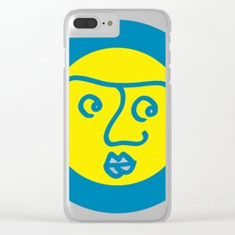 Colored Wondering Face in the Circle Clear iPhone Case