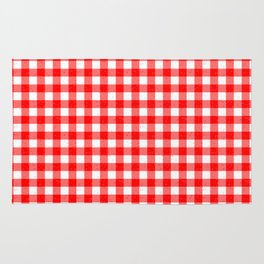 Gingham Red and White Pattern Rug