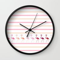 flamingos Wall Clocks featuring FLAMInGOS by Monika Strigel