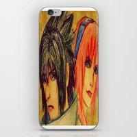 sasuke iPhone & iPod Skins featuring Uchiha Sasuke & Haruno Sakura  by Aileen
