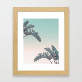 Tropical Palm Leaves In Pastel Light Framed Art Print