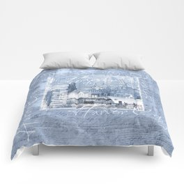 Harbor City Hamburg Germany mixed media Art Comforters