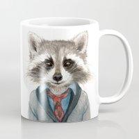 raccoon Mugs featuring Raccoon by Leslie Evans
