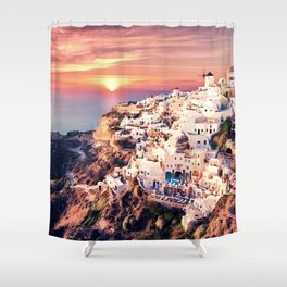 Santorini Sunset View Shower Curtain