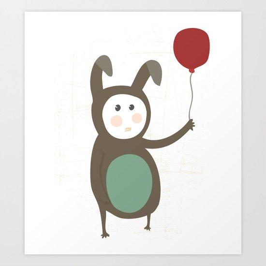 Bunny boy with a balloon Art Print