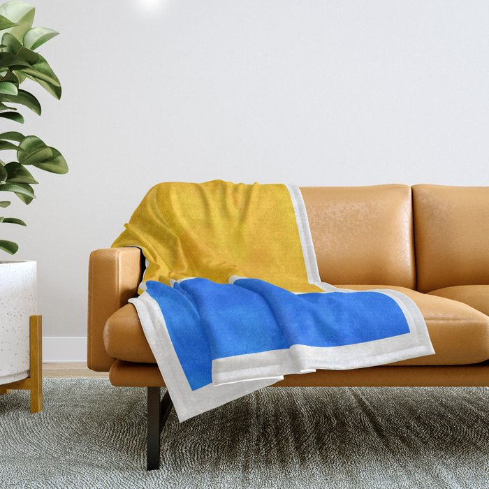 Primary Yellow Cerulean Blue Mid Century Modern Abstract Minimalist Rothko Color Field Squares Throw Blanket