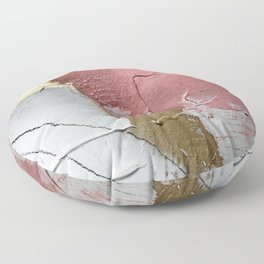Darling: a minimal, abstract mixed-media piece in pink, white, and gold by Alyssa Hamilton Art Floor Pillow