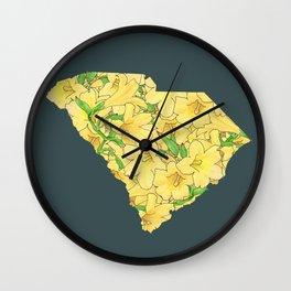 South Carolina in Flowers Wall Clock