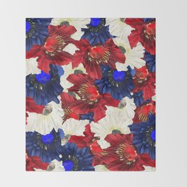 Red White Blue Floral Gems Throw Blanket