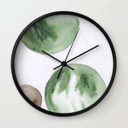 12  |181104 Australian Leaf Green & Brown Earth Orbs | Watercolour Circle Abstract Geometrical Wall Clock
