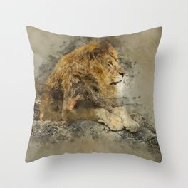 Lion on the rocks Throw Pillow