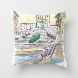 Rome Italy Piazza Spagna with Spanish Steps Throw Pillow