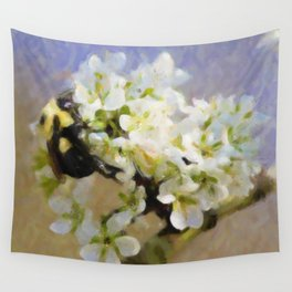 Bee On White Flowers Wall Tapestry