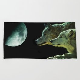 Moonlight Wolves Beach Towel