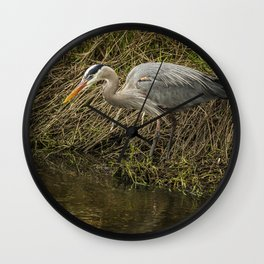 Great Blue Heron By the Water's Edge Wall Clock