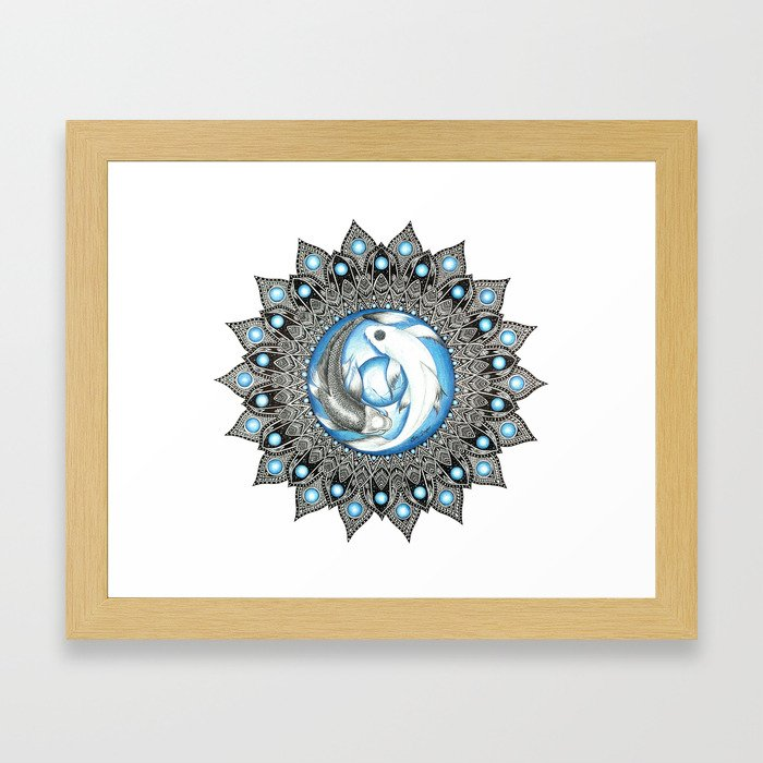 Yin and Yang Butterfly Koi Fish Mandala Framed Art Print by brilazar ...