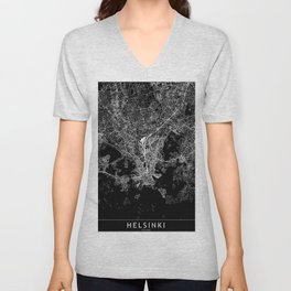 Helsinki Black Map Unisex V-Neck