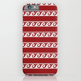 Red and white Greek wave ornament pattern iPhone Case