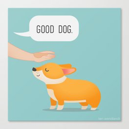 Good Dog, Corgi Canvas Print