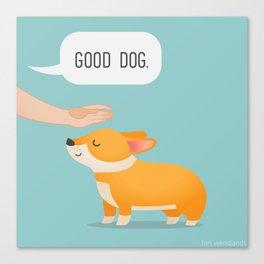 Good Dog, Corgi Canvas Print