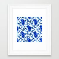 morrocan Framed Art Prints featuring Paisley Porcelain blue and white by Figen Topbas