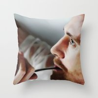tom hiddleston Throw Pillows featuring Tom Hiddleston by Kate Dunn