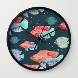Ma Blue Little Fish - Watercolor Pattern Wall Clock