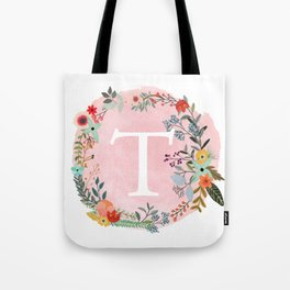 Flower Wreath with Personalized Monogram Initial Letter T on Pink Watercolor Paper Texture Artwork Tote Bag