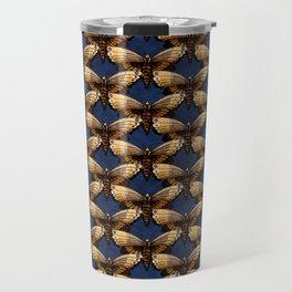 Moth Pattern On Dark Blue Travel Mug