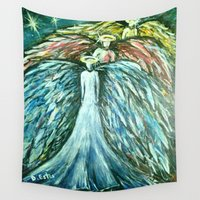 angels Wall Tapestries featuring Promise Angels by Diana Estes