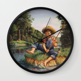 Young Boy Fishing, Catching A Fish, Rural Country life Landscape Wall Clock