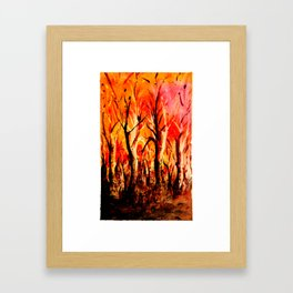 Dark Burning Forest Framed Art Print