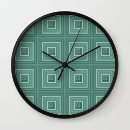 Green plaid  4 Wall Clock