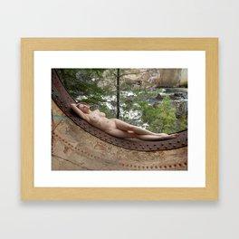 6893-LP Industrial Odalisque Fine Art Nude Woman by the Dead River Framed Art Print