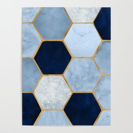 Deco Blue Marble II with Metallic Gold Accents Poster