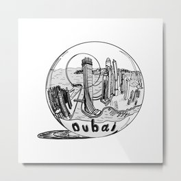 Dubai in a glass bowl . illustration Metal Print