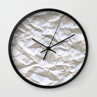 line Wall Clocks featuring White Trash by pixel404