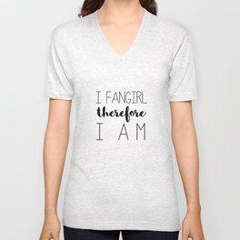 i fangirl therefore i am // white Unisex V-Neck