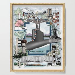 USS Jefferson City - Pearl Harbor Submarine Service (silver dolphins) Serving Tray