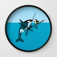 orca Wall Clocks featuring Orca by WyattDesign