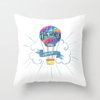 tolkien Throw Pillows featuring The World Is Out There; The Hobbit, J.R.R. Tolkien by astoldbycaro