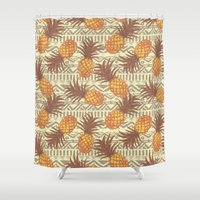 pineapples Shower Curtains featuring pineapples by Julia